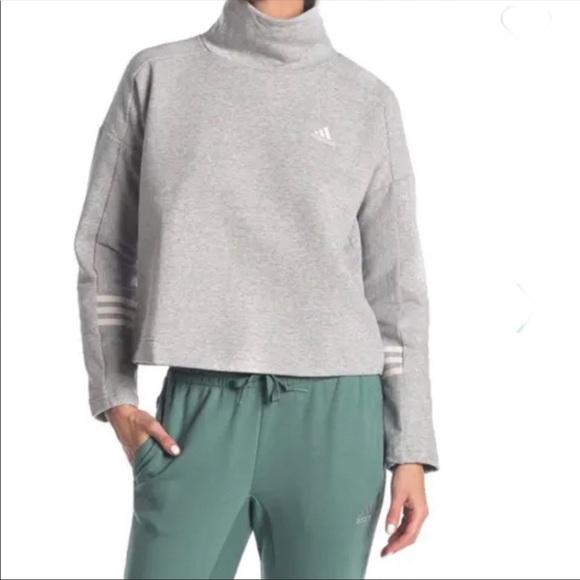 NEW Adidas Mock Neck Back Zip Sweatshirt